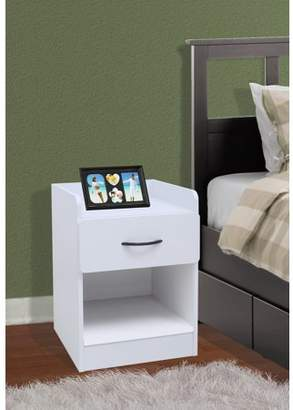 Pilaster Designs Haifa White Wood Contemporary Nightstand Bedside Table With 1 Drawer & Storage Shelf