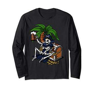 Skeleton Pirate Beer Drinking Party Funny Long Sleeve Shirt