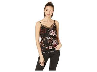 Miss Me Floral Embroidered Scallop Hem Chiffon Cami Top