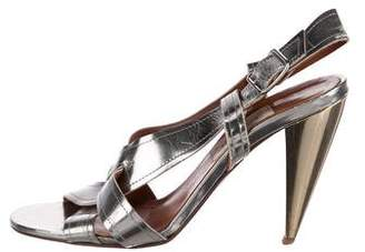 Lanvin Metallic Patent Leather Slingback Sandals