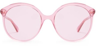 Gucci Round Cat Eye Frame Acetate Sunglasses - Womens - Pink