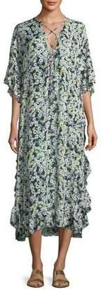 See by Chloe Floral Caftan Short-Sleeve Dress