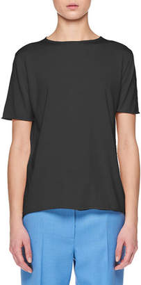 The Row Laneige Crewneck Short-Sleeve Shappe Silk T-Shirt