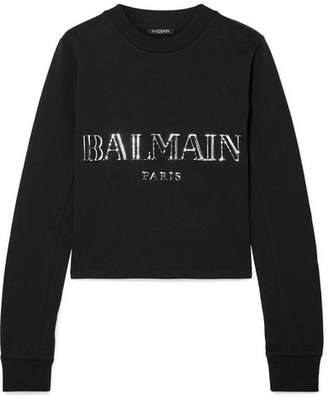 Balmain Cropped Appliquéd Cotton-jersey Sweatshirt - Black