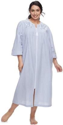 Miss Elaine Plus Size Essentials Long Seersucker Robe