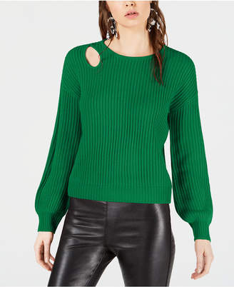 Bar III Balloon-Sleeve Cutout Sweater