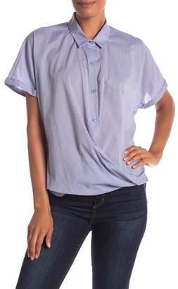BCBGMAXAZRIA Button Down Short Sleeve Blouse