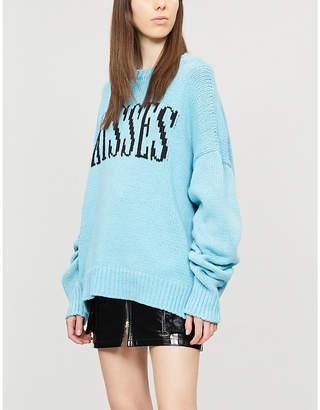 Amiri Kisses-intarsia cotton-blend knit jumper