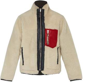 Aries Pat Leather Trimmed Sheepskin Jacket - Mens - White