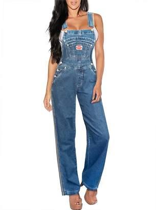 Revolt Women's Plus Size Denim Jean Blue Overalls PVJ6122X Dark WASH