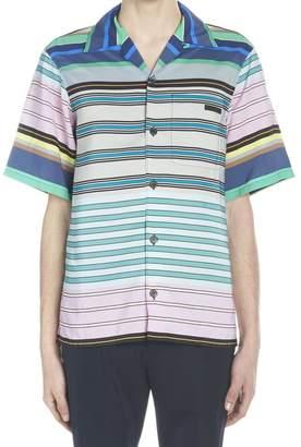Prada Striped Logo Patch Shirt