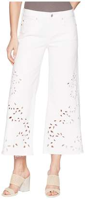 Liverpool LVPL by Callie Cropped Wide Leg with Cut Out Eyelet Embroidery in Comfort Stretch Denim in Bright White Women's ...