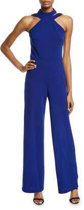 Bebe Halter Cutout Crepe Jumpsuit, Cobalt