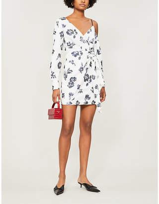 Self-Portrait One-shoulder sequin-embellished crepe mini dress