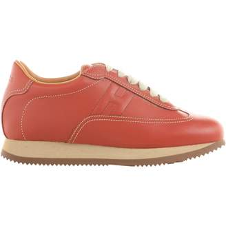 Hermes Quicker Red Leather Trainers