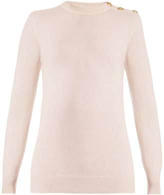 Balmain Button-shoulder crew-neck wool-blend sweater