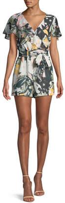 Club Monaco Ionita Floral-Print Ruffle Romper