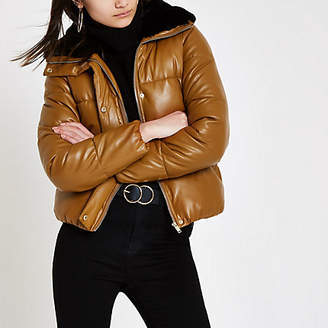 River Island Brown faux fur collar puffer jacket
