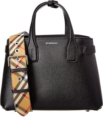 f57046093e89 Burberry Banner Small Vintage Check   Leather Tote