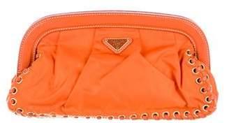Prada Leather-Trimmed Tessuto Clutch