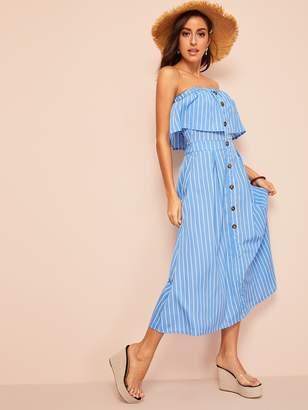 Shein Button Through Pinstripe Flounce Tube Dress