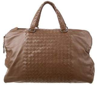 Bottega Veneta Leather Intrecciato-Trimmed Satchel