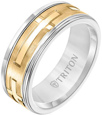 Triton 8MM White Tungsten Carbide Ring with 14K Yellow Gold Religious Insert