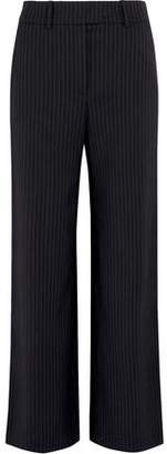 Mira Mikati Metallic-Trimmed Striped Crepe Straight-Leg Pants