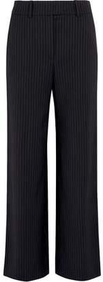Mira Mikati Metallic-Trimmed Pinstriped Crepe Straight-Leg Pants