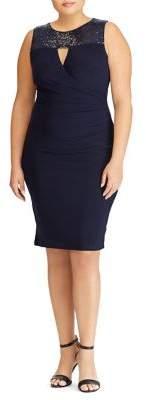 Lauren Ralph Lauren Plus Sequined Jersey Sheath Dress