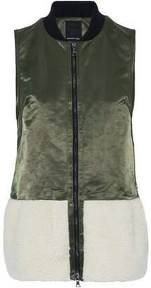 Marissa Webb Faux Shearling-Paneled Cotton-Blend Satin Vest