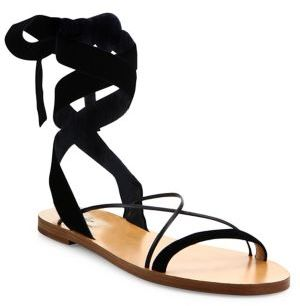 Valentino Velvet Ankle-Wrap Sandals