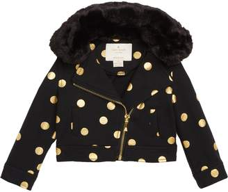Kate Spade Foil Dot Moto Jacket With Faux Fur Collar