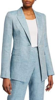 Lafayette 148 New York Heather Bravado Italian Linen Jacket