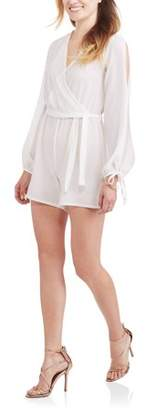 Generic Women's Long Sleeve Wrap Front Romper