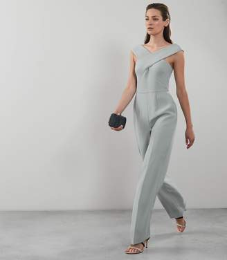 Reiss Our last order date for Christmas has now passed MIKA BARDOT JUMPSUIT Sage Green