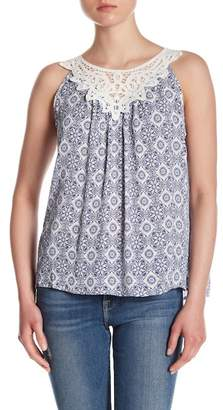 Skies Are Blue Lace Neckline Patterned Tank