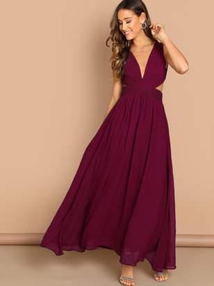 Shein Deep V Neck Criss Wrap Fit & Flare Maxi Dress