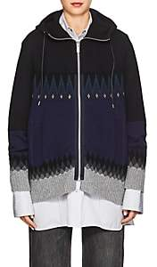 Sacai Women's Fair Isle Cotton-Blend Hooded Sweater-Black, Navy