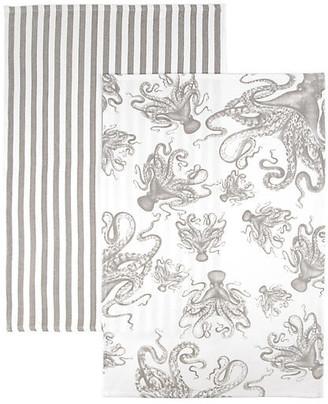 One Kings Lane Set of 2 Octopus Stripe Kitchen Towels - Gray/White