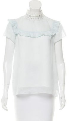 Sandro Striped Lace-Trimmed Top $95 thestylecure.com