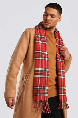 BoohooMAN Red Check Knitted Tassel Scarf