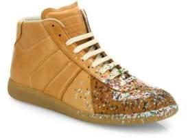 Maison Margiela Replica Paint-Splatter Leather Mid-Top Sneakers