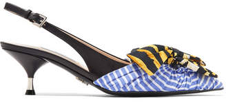 Prada Bow-embellished Leather And Striped Canvas Slingback Pumps - Blue
