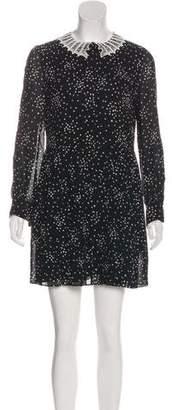 Saint Laurent Lace-Trimmed Star Print Dress