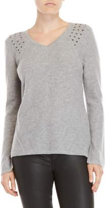 Qi Studded V-Neck Sweater