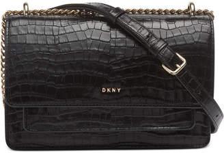 DKNY Bryant Croco Leather Chain Flap Crossbody