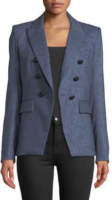 Veronica Beard Miller Double-Breasted Herringbone Dickey Jacket