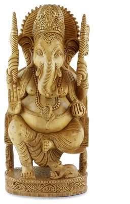 Wood sculpture, 'Blessed Ganesha I'