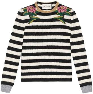 Gucci Embroidered merino cashmere knit top